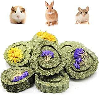 PeSandy Bunny Chew Toys for Teeth, Organic Apple Wood Molar Sticks with Timothy Hay Circles for Bunny Chinchilla Guinea Pig Hamsters Holland Lop Prairie Dogs Squirrels