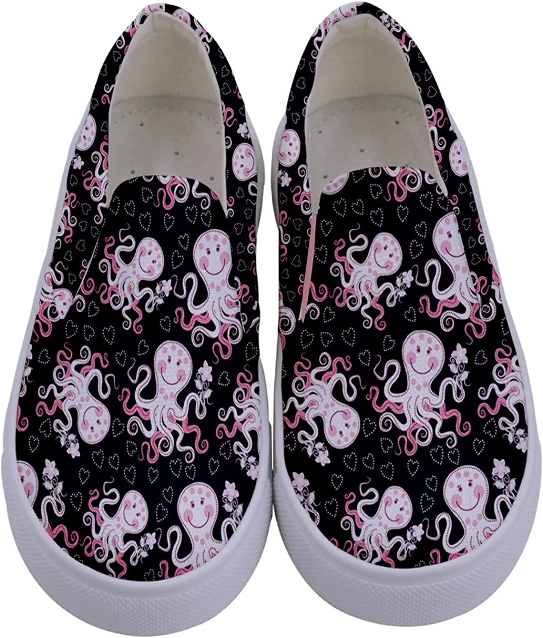 PattyCandy Girls Sea Animals Pattern Kids Canvas Slip-On Shoes, Size:US 8C-7Y