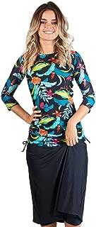 Ella Mae Women's Modest Swimsuit: 3/4 Sleeve Swim Shirt & Long Swim Skirt w/Leggings UPF 50+