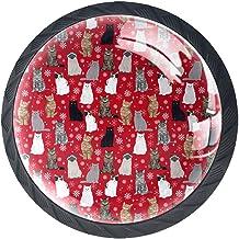 Ladeknoppen Ronde Kast Handgrepen Trek voor Thuiskantoor Keuken Dressoir Decorate,Winter Kat Sneeuwvlok Stof