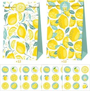 Cieovo 24 pcs Lemon Party Favor Bags Paper Gift Bags, Goodie Candy Bags Kraft Treat Paper Bags with Stickers for Summer Le...