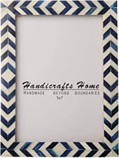 Handicrafts Home Blue White Chevron Picture Frames – Mosaic Moroccan Pattern Bone Inlay Handmade – Hang or Sit 5x7 – Thanksgiving Gifts
