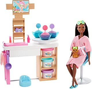 Barbie Face Mask Spa Day Playset with Brunette Barbie Doll, Puppy, 3 Tubs of Barbie Dough and 10+ Accessories to Create an...