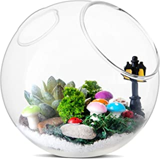 LIHAO Airtificial Succulent Glass Kit with Miniature Fairy Garden Ornaments for Home Decoration