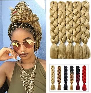 YAYAFAIRY 5pc Jumbo Kanekalon Braiding Hair Extensions for Box Twist Braid Hair Ash Blonde24 Inch Long Ombre Braiding Hair