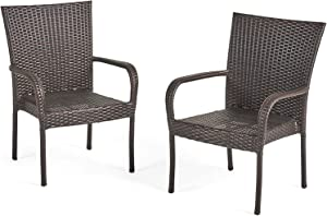 Christopher Knight Home CKH Outdoor Wicker Stackable Club Chairs (2-Pcs Set, Multibrown/New)