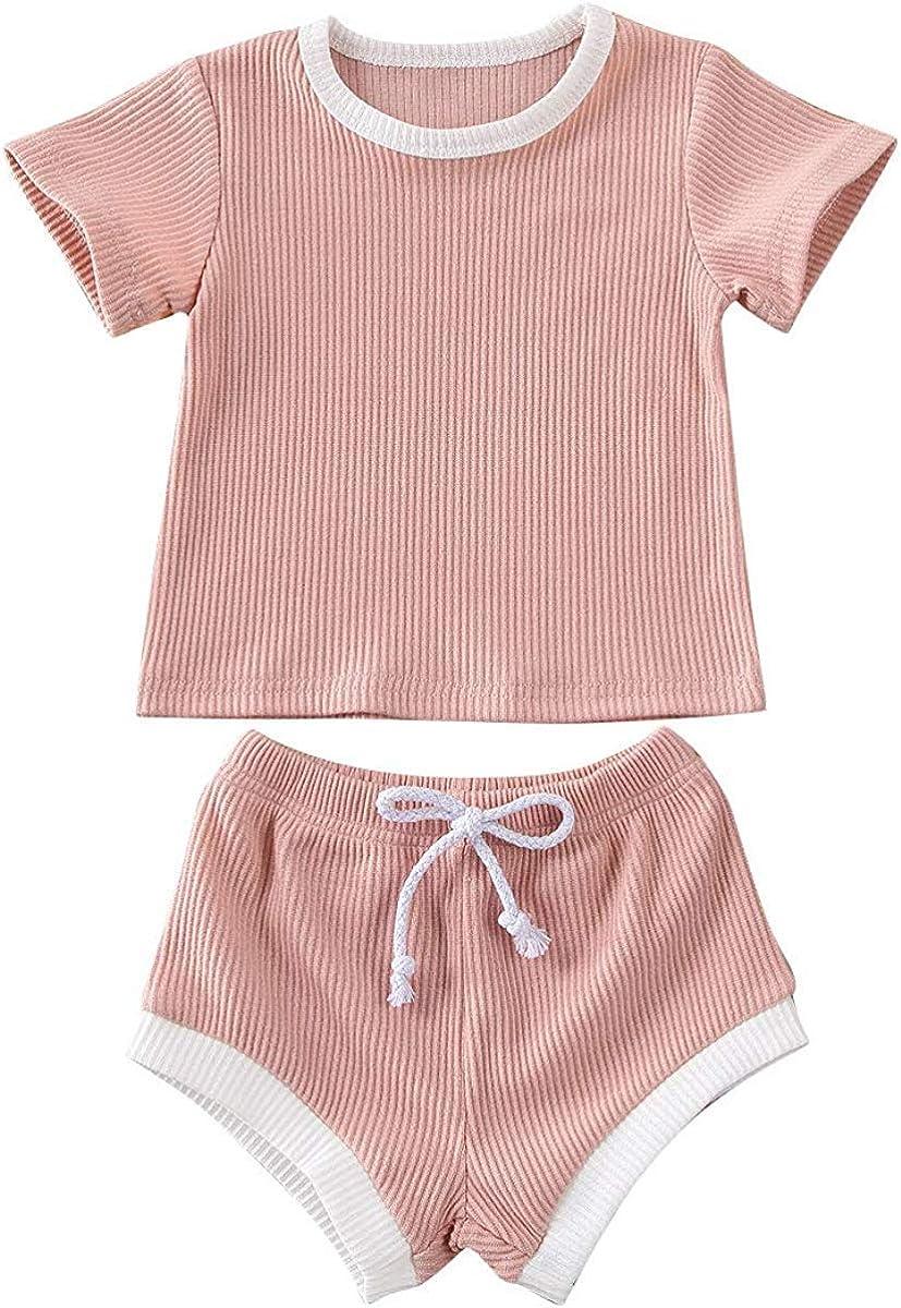Baby Boy Girls Summer Clothing Ribbed Short Sleeve T-Shirt Tops + Drawstring Shorts Pants Outfits Set