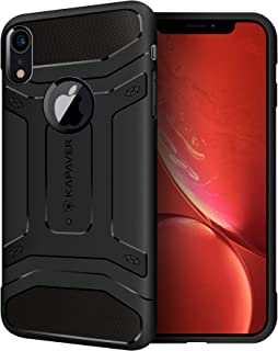 KAPAVER® Apple iPhone XR Back Cover Case Drop Tested Shock Proof Carbon Fiber Armor Black (Only for iPhone XR 2018)