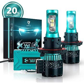 Glowteck LED Headlight Bulbs Conversion Kit - H13 (9008) Cree XHP50 Chip 12000 Lumens/Pair 68 Watt 6500 Kelvin