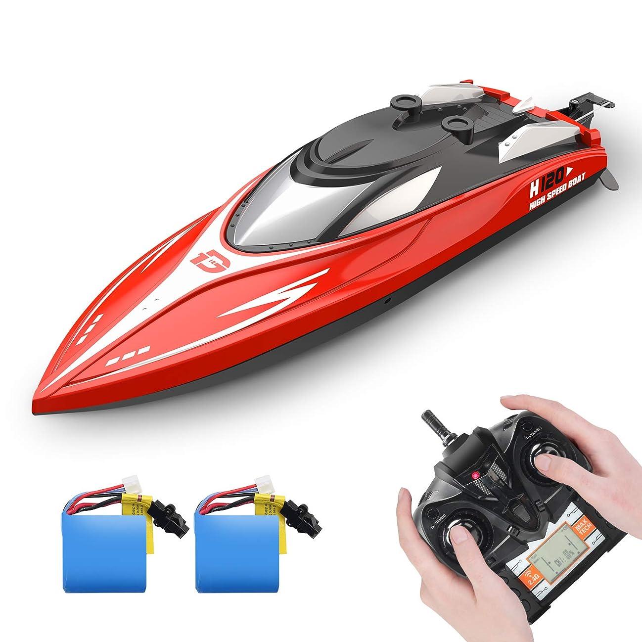 聖職者狐カヌーDEERC ラジコン 船 ボート 高速 ラジコンボート こども向け リモコン 28km/h 防水性 RCスピードボート おもちゃ 2.4Ghz無線操作 贈り物 日本国内認証済み H120