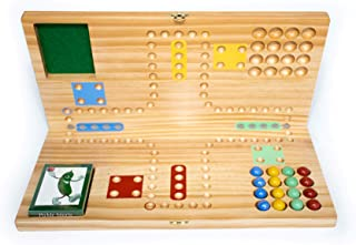 Pickle Sports Get Out Card Marble Wood Board Game (Folding Portable Travel Board)