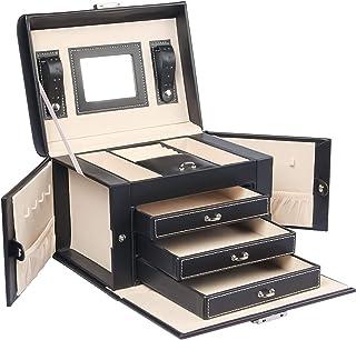 Yorbay Caja Joyero con Espejo y 3 Cajones, Caja para Joyas,