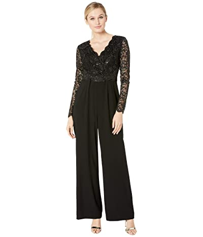 Tahari by ASL Long Sleeve Stretch Lace and Crepe Jumpsuit (Black) Women