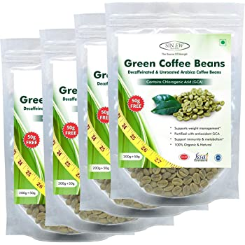 Sinew Nutrition Green Coffee Beans 800g + 200g FREE (250g x 4 PC) for Weight Management