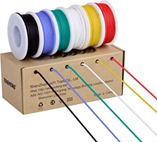 18awg Electronic Wire Kit,Flexible Silicone Wire 6 Color 18 Gauge Hook Up Wire(6..