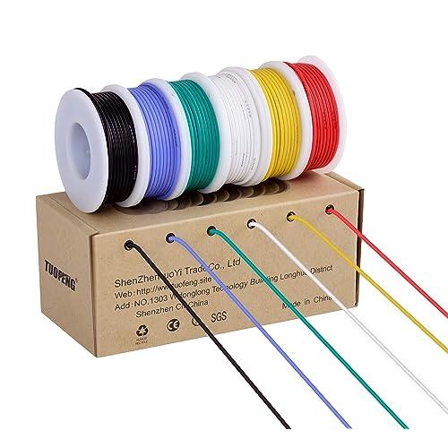 Cable electrónico de calibre 20,Cable flexible de silicona 20 AWG (6 carretes de