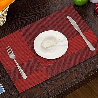 dfsa Topfinel Lot de 4 sets de table en plastique PVC et bambou pour salle à manger Chemin de table Linge de table Accesso...
