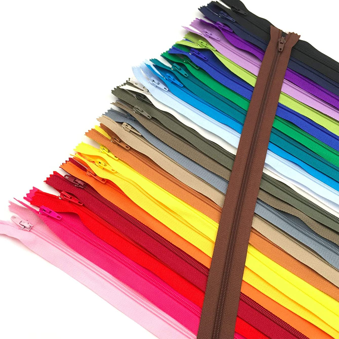 60pcs 16 inch Zippers-25Colors Nylon Coil Zipper Bulk #3 Zippers for Tailor Sewing Crafts
