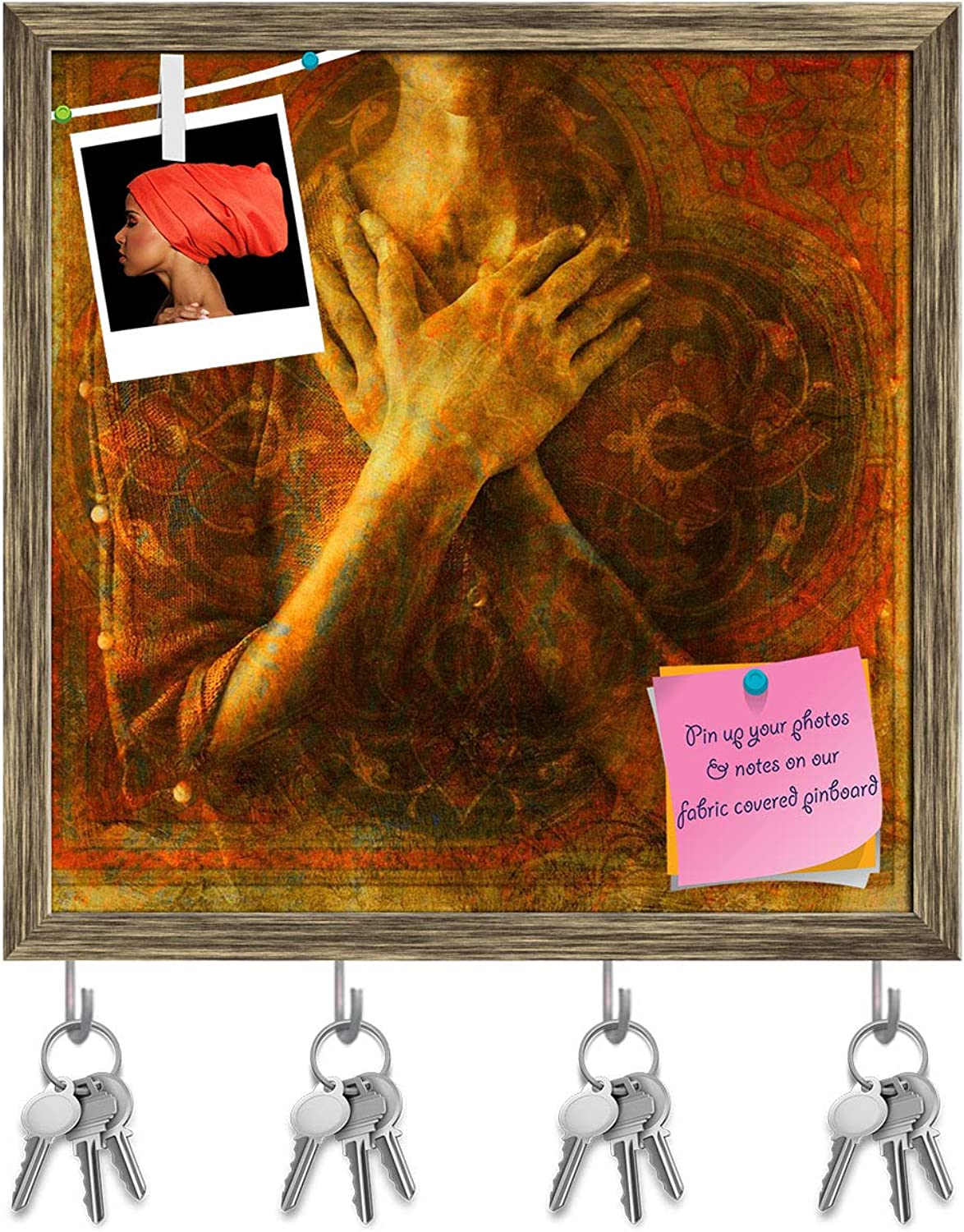 Artzfolio A Womans'S Hands Crossed Over Her Chest Key Holder Hooks   Notice Pin Board   Antique golden Frame 20 X 20Inch