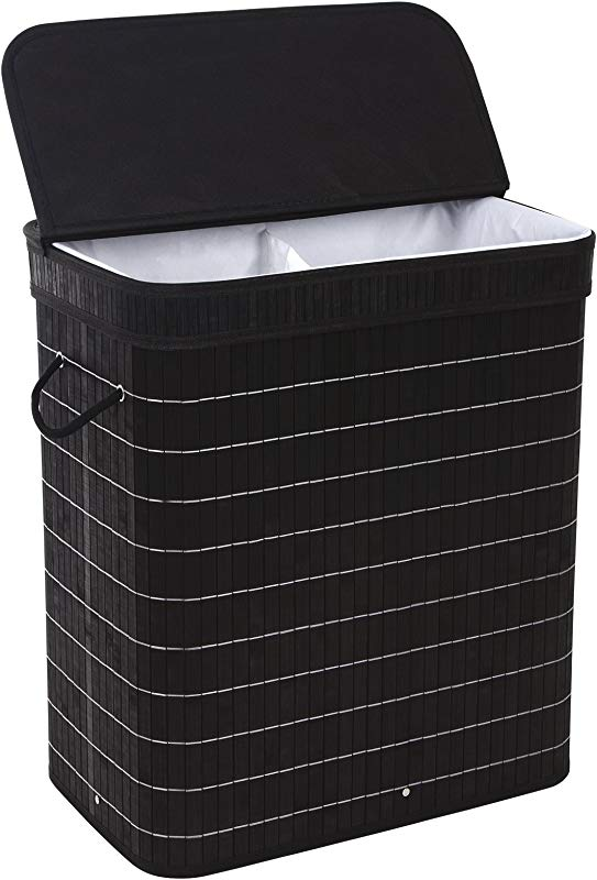 SONGMICS Divided Bamboo Laundry Two Section Hamper Double Dirty Clothes Sorter With Lid Handles And Removable Liner Compartment Storage Basket Rectangular Black ULCB64H