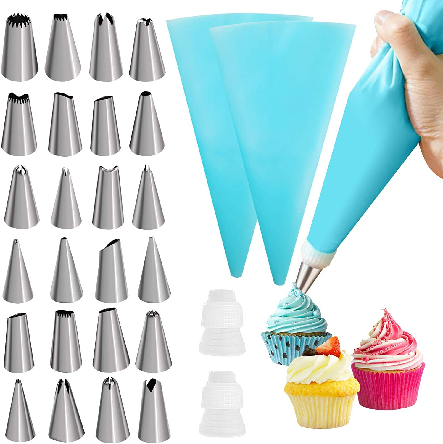 31Pcs Piping Bags and Tips Set Latest item 2 With Japan Maker New Reusable St Pastry 24