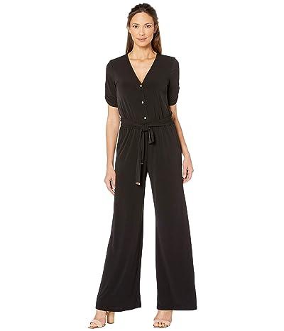 MICHAEL Michael Kors Solid Button Front Jumpsuit (Black) Women