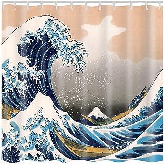 Ruiuzi – Cortina de ducha para cuarto de baño, diseño de tortuga marina, océano, criatura, paisaje, cortina de ducha, tela para cuarto de baño, duradera, resistente al agua y al moho, Onda., 180*180cm