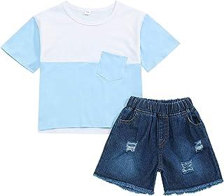 ملابس أطفال بنات أزياء قصيرة الأكمام توب وبنطلون ممزق تودجر فتاة طقم ملابس الصيف قطعتين