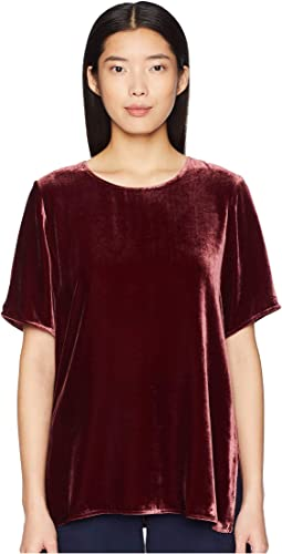 Velvet Round Neck Short Sleeve Box-Top