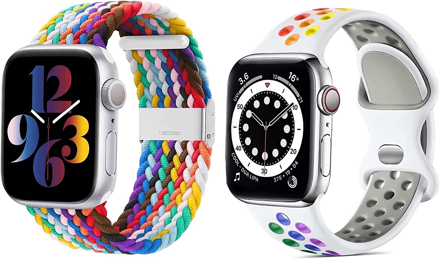 BUBEHYMY Compatible Apple Watch Band 38mm 40mm 42mm 44mm,Soft Silicone Replacement Strap + Adjustable Braided Single loop Stretchable Elastic Sports Wristband,For iWatch Series 6 5 4 3 2 1 SE Men's Ladies