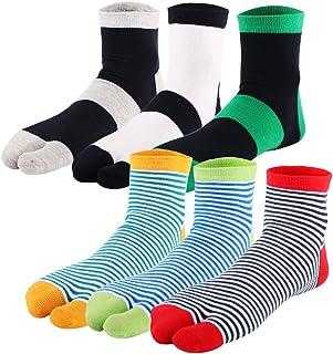 Kilofly, 6 pares de calcetines Tabi a rayas unisex con 2 dedos