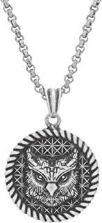 Oxidized Stainless Steel Rope Edge Coin Necklace for Men...