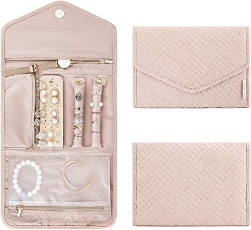 BAGSMART Travel Jewelry Organizer Roll Foldable Jewelry Case for Journey-Rings, Necklaces, Bracelets, Earrings, Soft ...