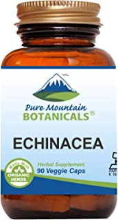 Echinacea Capsules - 90 Kosher Vegan Caps with 420mg Organic Echinacea Root