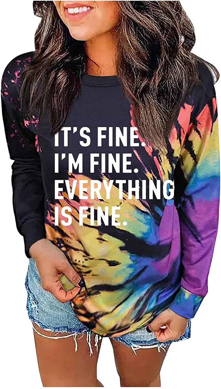 FABIURT Sweaters for Women Casual,Womens Girls Fashion Long Sleeve Sweatshirt Colorblock Tie Dye Loose Crewneck Pullover Tops