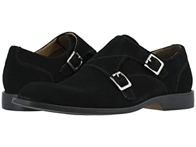 Stacy Adams Wentworth Plain Toe Double Monk Strap (Black Suede) Men