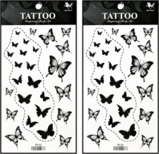 Tattoos 2 Sheets Temporary Tattoo 3D Black Butterfly Dashed Lines for Women Men Lower Back Shoulder Neck Arm Tattoo Sticker Party Fashion