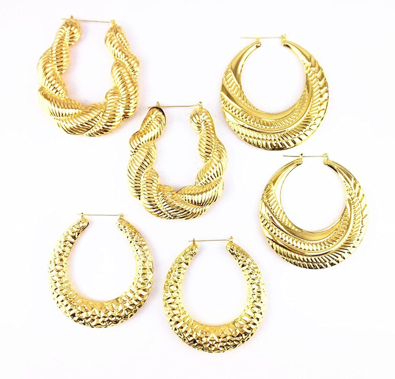 Honbay 3 Pairs Gold Different Shape Pincatch Hoop Earrings