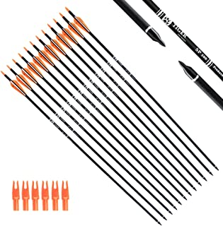 Tiger Archery 30Inch Carbon Arrow Practice Hunting Arrows with Removable Tips for Compound & Recurve Bow(Pack of 12)