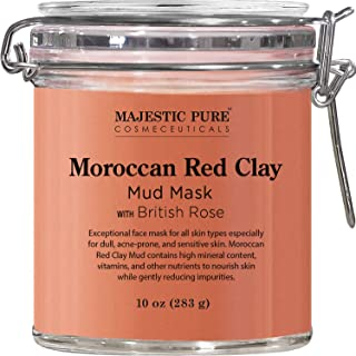 MAJESTIC PURE Moroccan Red Clay Facial Mud Mask with British Rose - Natural Skin Care Face Mask for Pore Cleansing and Dull & Sensitive Skin - Fights Acne and Blackheads - 10 oz