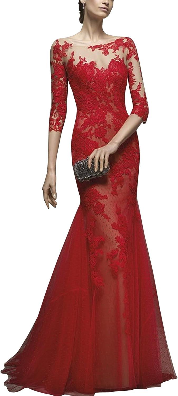 SecretCastle Women's Boat Neck Mermaid Evening Dress with 3 4 Sleeves