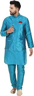 SKAVIJ Men's Kurta Pajama and Jacket 3-Piece Set Indian Ethnic Dress