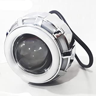 AllExtreme EXPLRW1 High Intensity Led Projector Lamp Stylish Dual Ring COB LED Headlight with Hi/Low Beam and Flasher Function for All Bikes (Red & White, 15W)