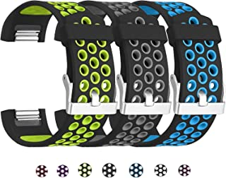 SKYLET Compatible with Fitbit Charge 2 Bands, 3 Pack Breathable Silicone Replacement Sport Wristbands Compatible with Fitbit Charge 2 with Secure Watch Clasp Men Women(No Tracker)