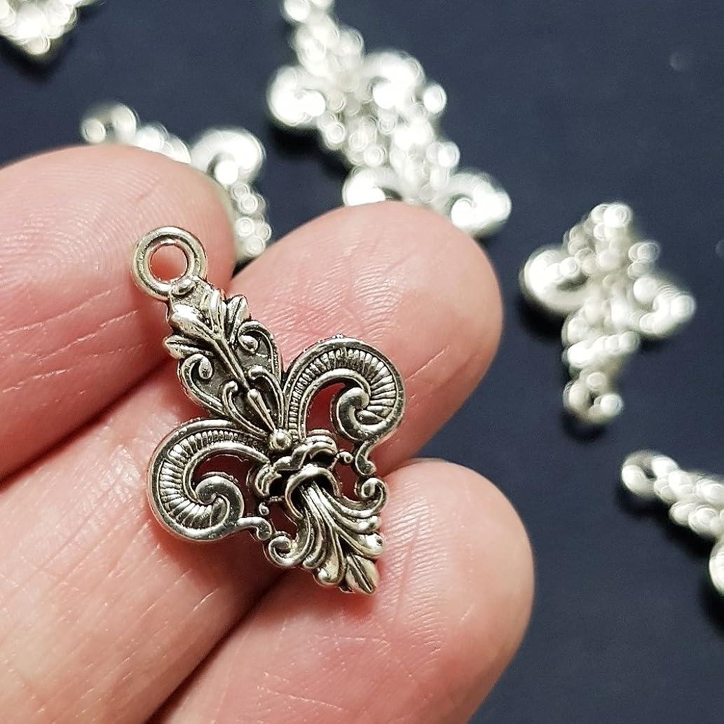 NP Supplies 16 Pcs Tibetan Silver Fleur de lis Charms 15x26mm (NS789)