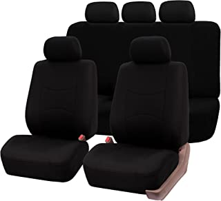 FH Group FB051115 Multi-Functional Flat Cloth Car Seat Covers, Airbag Compatible and Split Bench, Solid Black Color