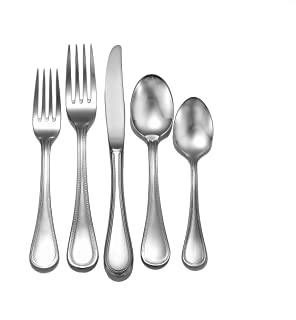 Liberty Tabletop Pearl 65-piece 18/10 Flatware Set Service for 12, Includes Serving Pieces Made in USA