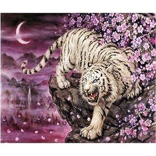 ダイヤモンド絵画針仕事フルダイヤモンド激しい白虎ダウン山動物刺繍ラインストーンルームの装飾40×50センチ