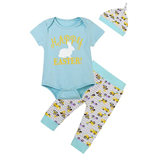 e41eb68be Baby Boys' Happy Easter Bunny Printed Outfit Set Romper Short Sleeve