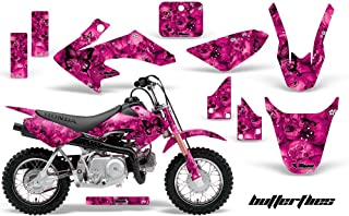 AMR Racing MX Dirt Bike Graphic Kit Sticker Decals Compatible with Honda CRF50 2004-2013 - Skulls and Butterflies Black Pink